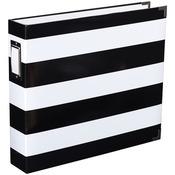 Black & White Stripe Project Life Printed Chipboard D - Ring Album - Heidi Swapp
