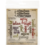 Script Holiday Words - Sizzix Thinlits Dies 17/Pkg By Tim Holtz