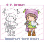 Birgitta's Snow Heart - Swiss Pixie Cling Stamp