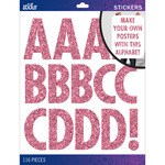 Pink Glitter Futura Regular XL - Sticko XL Alphabet Stickers