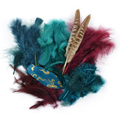 Teal, Wood & Jasper - Mix Package Feathers 7 Grams/Pkg