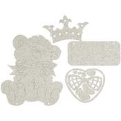 """Teddy Bear, 10.5""""X8.5"""" - Die-Cut Gray Chipboard Plaque"""