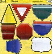 Road Signs Die Cut Cardstock Stickers - 12 Pack