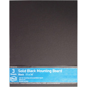 "11""X14"" - Crescent Solid Black Mounting Board Value Pack 3/Pkg"