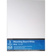 """9""""X12"""" - Crescent White Mounting Board Value Pack 3/Pkg"""
