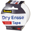 White - Scotch (TM) Dry Erase Tape 1.88 X5yd 3M-Scotch Dry Erase Tape: White. Easy to use! Just cut, peel and stick. Write on with a standard dry erase markers and erase with a tissue, cloth or eraser (not included). Recommended for hard, smooth surfaces such as metal, glass and plastic! Not suitable for use on walls or textured surfaces. This package contains 5 yards of 1-7/8 inch wide dry erase tape. Conforms to ASTM D 4236. Made in USA.