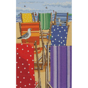 """11.8""""X7.9"""" 16 Count - Rainbow Deckchairs Counted Cross Stitch Kit"""