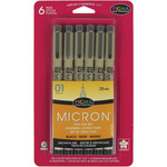 Black - Pigma Micron Pens 01 .25mm 6/Pkg