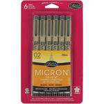 Black - Pigma Micron Pens 02 .3mm 6/Pkg