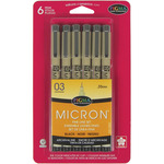 Black - Pigma Micron Pens 03 .35mm 6/Pkg