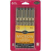 Black - Pigma Micron Pens 05 .45mm 6/Pkg