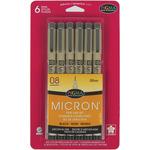 Black - Pigma Micron Pens 08 .5mm 6/Pkg