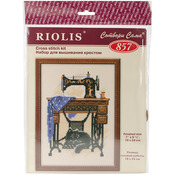 """7.125""""X9.5"""" 15 Count - Cat With Sewing Machine Counted Cross Stitch Kit"""