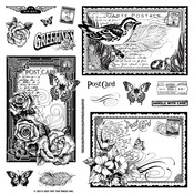 """Hot Off The Press Acrylic Stamps 8""""X8"""" Sheet - Postcards"""