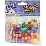 Alphabet Beads 8mm 160/Pkg, Transparent Glitter