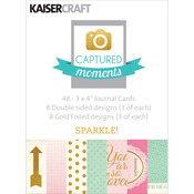 "Captured Moments Double - Sided Cards 3""X4"" 48/Pkg - Sparkle! W/Some Gold Foiled"