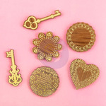 Keys & Doilies Wood Icons With Foil - Prima