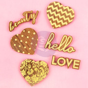 Hearts & Phrases Wood Icons With Foil - Prima