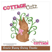 Gracie Bunny Giving Thanks 4 x 4 Metal Die - CottageCutz