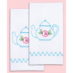 "Teapot - Stamped White Decorative Hand Towel Pair 17""X28"""