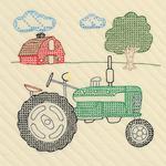 """Tractor - Stamped Ecru Quilt Blocks 18""""X18"""" 6/Pkg"""