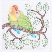 """Love Birds - Stamped White Quilt Blocks 18""""X18"""" 6/Pkg"""