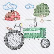 """Tractor - Stamped White Quilt Blocks 18""""X18"""" 6/Pkg"""