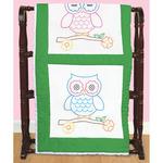 "Owls - Stamped White Themed Quilt Blocks 14""X14"" 6/Pkg"