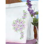 Floral Bouquet - Stamped Pillowcases W/White Perle Edge 2/Pkg