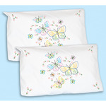 Fluttering Butterflies - Stamped Pillowcase Shams 2/Pkg