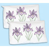 Stamped Pillowcase Shams 2/Pkg - Iris Jack Dempsey-Stamped Pillowcase Shams. Create beautiful pillowcase shams using this great kit. The stitching designs have been stamped using ink that washes away with any liquid and the fabric is a cotton/poly blend broadcloth. This package contains one pair of sham to fit a standard size pillow with finished edge, instructions for completion and care and a complete list of DMC floss requirements. Hoop, needle and floss sold separately. Design: Iris. Made in USA.