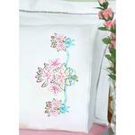 Star Flower Bouquet - Stamped Pillowcases W/White Lace Edge 2/Pkg