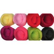 """Zinnias - Wool Roving 12"""" .25oz 8/Pkg"""