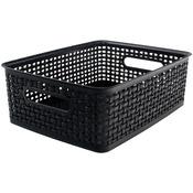 """Weave Design Plastic Bin Medium - Black, 13.75""""L X 10.5""""W X 4.625""""H"""