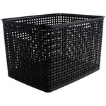"Weave Design Plastic Bin Large - Black, 13.75""L X 10.5""W X 8.75""H"