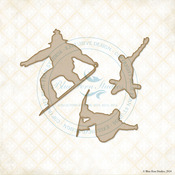 Snowboarders Laser Cut Chipboard Designs - Blue Fern Studios