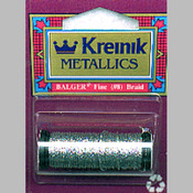 Silver - Kreinik Fine Metallic Corded Braid #8 11yd