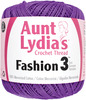 Purple - Aunt Lydia's Fashion Crochet Thread Size 3 Aunt Lydia's-Fashion Crochet Thread. This high luster mercerized cotton crochet thread is perfect for crochet projects both large and small. Suitable for fashion apparel and accessories. Features: size 3, 100% mercerized cotton thread. Put-up Solids: 150yd/137m. Put-up Metallics: 100yds/91m. Crochet Hook: 3D or 4E. Knitting Needles: US2-3 US. Crochet Gauge: 16-21dc=4in/10cm. Knitting Needles: 27-32S=4in/10cm. Care: machine wash gentle (max. temp 104F/40C), roll in towel & block, do not bleach, do not dry clean, do not iron. Dyelotted: we try but are not always able to match dyelots. Available in a variety of colors. Each sold separately. Imported.