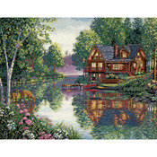 """16""""X12"""" 18 Count - Gold Collection Cabin Fever Counted Cross Stitch Kit"""