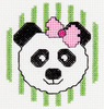 3  Round 14 Count - My 1st Stitch Panda Mini Counted Cross Stitch Kit BUCILLA-My 1st Stitch Mini Counted Cross Stitch Kit. My 1st Stitch Mini Counted Cross Stitch Kits is a series of cross stitch designs that are fresh & fun mini designs. Ideal for beginners. Included are easy to learn instructions with how-to steps showing you how its done. Beginner stitchers can create a quick and easy project. Everything you need is contained in each kit kit: 14 count Aida cloth, 3in round frame, nine pre-sorted cotton floss bobbins, needle, instructions and easy to read chart.  Finished size is 3in. Available in a variety of fun designs for boys and girls. Recommended for children ages 8 and up.  WARNING: Choking Hazard-small parts and functional sharp objects.  Not for children under 3 years.  Made in USA.