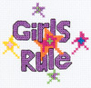 3  Round 14 Count - My 1st Stitch Girls Rule Mini Counted Cross Stitch Kit BUCILLA-My 1st Stitch Mini Counted Cross Stitch Kit. My 1st Stitch Mini Counted Cross Stitch Kits is a series of cross stitch designs that are fresh & fun mini designs. Ideal for beginners. Included are easy to learn instructions with how-to steps showing you how its done. Beginner stitchers can create a quick and easy project. Everything you need is contained in each kit kit: 14 count Aida cloth, 3in round frame, nine pre-sorted cotton floss bobbins, needle, instructions and easy to read chart.  Finished size is 3in. Available in a variety of fun designs for boys and girls. Recommended for children ages 8 and up.  WARNING: Choking Hazard-small parts and functional sharp objects.  Not for children under 3 years.  Made in USA.