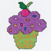 "3"" Round 14 Count - My 1st Stitch Cupcake Mini Counted Cross Stitch Kit"