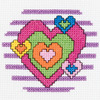 3 inches  Round 14 Count - My 1st Stitch Heart Mini Counted Cross Stitch Kit BUCILLA-My 1st Stitch Mini Counted Cross Stitch Kit. My 1st Stitch Mini Counted Cross Stitch Kits is a series of cross stitch designs that are fresh & fun mini designs. Ideal for beginners. Included are easy to learn instructions with how-to steps showing you how its done. Beginner stitchers can create a quick and easy project. Everything you need is contained in each kit kit: 14 count Aida cloth, 3in round frame, nine pre-sorted cotton floss bobbins, needle, instructions and easy to read chart.  Finished size is 3in. Available in a variety of fun designs for boys and girls. Recommended for children ages 8 and up.  WARNING: Choking Hazard-small parts and functional sharp objects.  Not for children under 3 years.  Made in USA.
