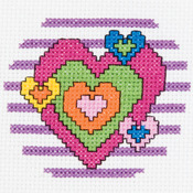 "3"" Round 14 Count - My 1st Stitch Heart Mini Counted Cross Stitch Kit"