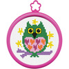 3  Round 14 Count - My 1st Stitch Owl Mini Counted Cross Stitch Kit BUCILLA-My 1st Stitch Mini Counted Cross Stitch Kit. Can you count to 4? Then you can cross stitch! This package contains a 3 inch frame, 14 count aida cloth, cotton floss, needle, instructions and chart. Design size: 3 inch round. Design: Owl. WARNING: Choking Hazard. Small parts. Not for children under 3 years. Made in USA.