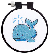 "Learn - A - Craft The Whale Stamped Cross Stitch Kit-3"" Round"