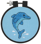 """Learn - A - Craft Dolphin Delight Stamped Cross Stitch Kit-3"""" Round"""