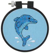 "Learn - A - Craft Dolphin Delight Stamped Cross Stitch Kit-3"" Round"