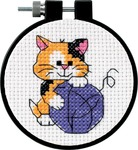 "Learn - A - Craft Cute Kitty Counted Cross Stitch Kit-3"" Round 11 Count"