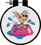 "Learn - A - Craft Perky Puppy Counted Cross Stitch Kit-3"" Round 11 Count"